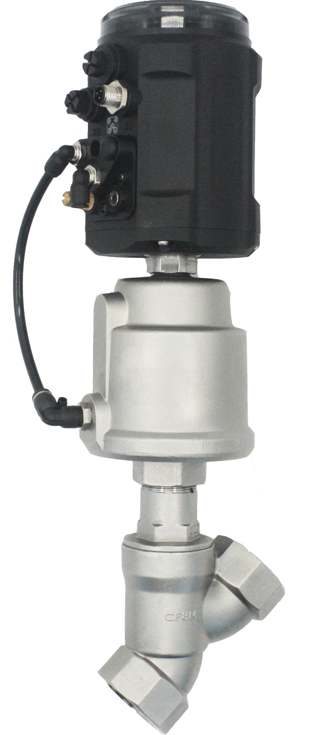 Пневматический клапан наклонный корпус с позиционером